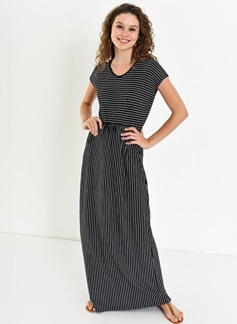 c88e99c9279b2 Ola Kadın V Yaka Beli Lastikli Çizgili Elbise Siyah | Morhipo | 21429517